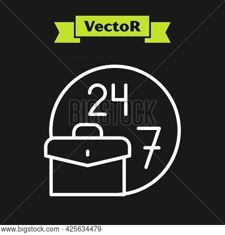 White Line Always Busy Icon Isolated On Black Background. Vector