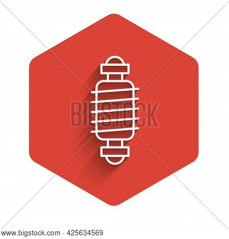 White Line Bicycle Suspension Icon Isolated With Long Shadow. Red Hexagon Button. Vector