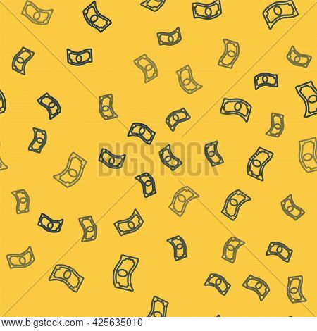 Blue Line Stacks Paper Money Cash Icon Isolated Seamless Pattern On Yellow Background. Money Banknot