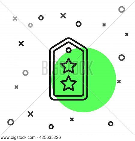 Black Line Military Rank Icon Isolated On White Background. Military Badge Sign. Vector