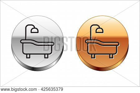 Black Line Bathtub Icon Isolated On White Background. Silver-gold Circle Button. Vector