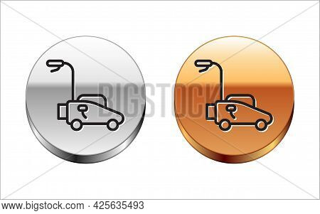 Black Line Lawn Mower Icon Isolated On White Background. Lawn Mower Cutting Grass. Silver-gold Circl