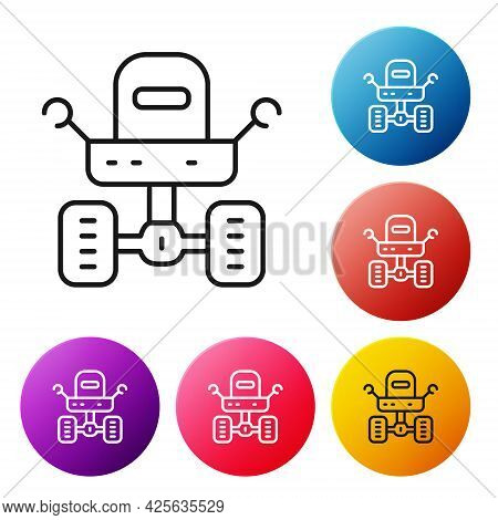 Black Line Mars Rover Icon Isolated On White Background. Space Rover. Moonwalker Sign. Apparatus For