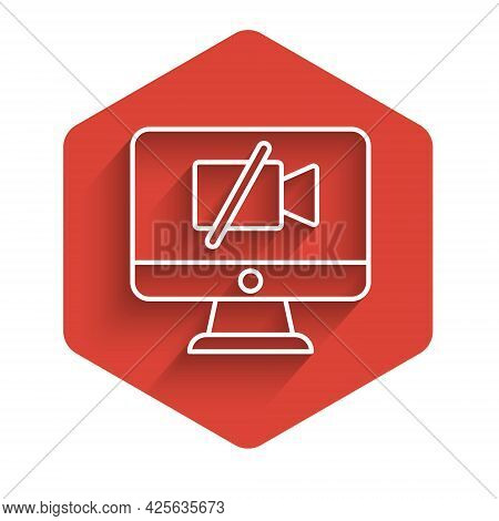 White Line Video Camera Off On Computer Icon Isolated With Long Shadow. No Video. Red Hexagon Button