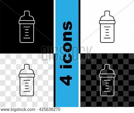 Set Line Baby Milk In A Bottle Icon Isolated On Black And White, Transparent Background. Feeding Bot