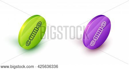 Isometric Line Shock Absorber Icon Isolated On White Background. Green And Purple Circle Buttons. Ve