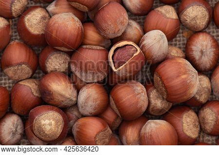 Unpeeled Hazelnuts On A Jute Fabric Close-up. Hazelnut As An Organic Superfood. Nuts In A Nutshell O