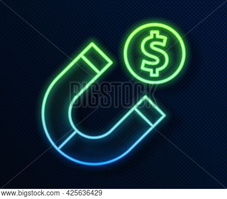 Glowing Neon Line Magnet With Money Icon Isolated On Blue Background. Concept Of Attracting Investme