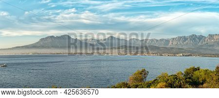 Panoramic View From Clarence Drive Accross False Bay Towards Gordons Bay And Somerset West In The We