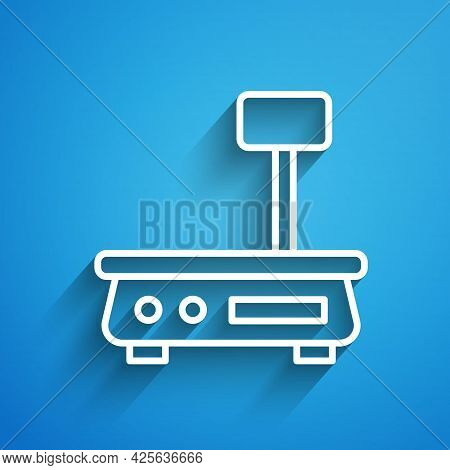 White Line Electronic Scales Icon Isolated On Blue Background. Weight For Food. Weighing Process In