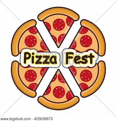 Pizza Fest Pizza Slices, Vector Art Illustration.