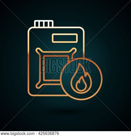 Gold Line Canister For Motor Machine Oil Icon Isolated On Dark Blue Background. Oil Gallon. Oil Chan
