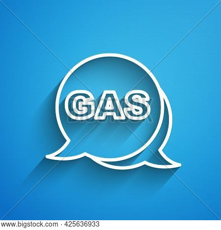 White Line Location And Petrol Or Gas Station Icon Isolated On Blue Background. Car Fuel Symbol. Gas