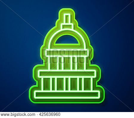 Glowing Neon Line White House Icon Isolated On Blue Background. Washington Dc. Vector