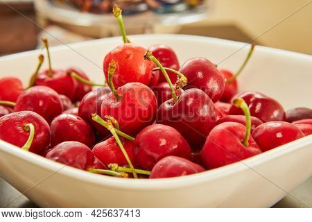 Fresh Cherries In White Plate, Ready To Eat