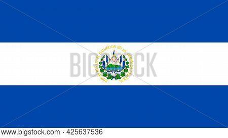 National Flag Of El Salvador In Original Colors. Vector Illustration.