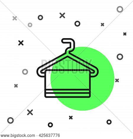Black Line Towel On Hanger Icon Isolated On White Background. Bathroom Towel Icon. Vector
