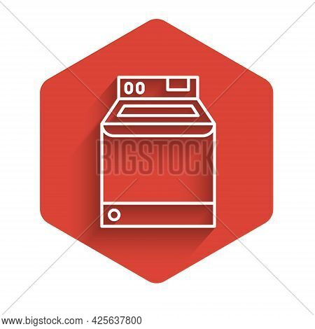 White Line Washer Icon Isolated With Long Shadow Background. Washing Machine Icon. Clothes Washer -