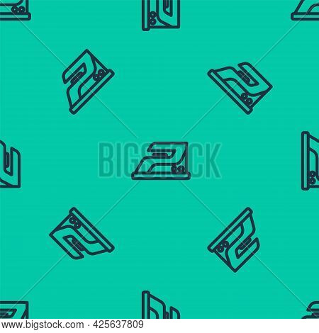 Blue Line Electric Iron Icon Isolated Seamless Pattern On Green Background. Steam Iron. Vector