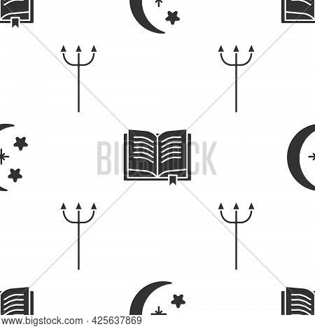 Set Moon And Stars, Ancient Magic Book And Neptune Trident On Seamless Pattern. Vector