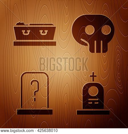 Set Grave With Tombstone, Coffin With Dead, Grave With Tombstone And Skull On Wooden Background. Vec