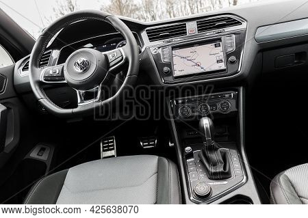 Hamburg, Germany - February 10, 2017: Steering Wheel And Dashboard. Interior Of Volkswagen Tiguan, 4