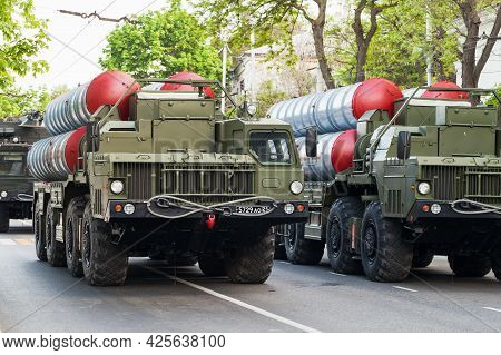 Sevastopol, Crimea - May 5, 2018: S-300 Missile Systems Are On The Military Parade In Honor Of Victo