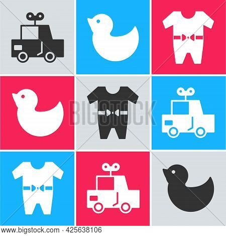 Set Toy Car, Rubber Duck And Baby Clothes Icon. Vector