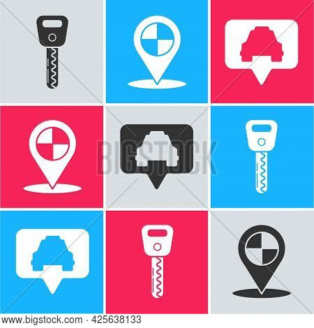 Set Car Key, Map Pointer With Taxi And Map Pointer With Taxi Icon. Vector