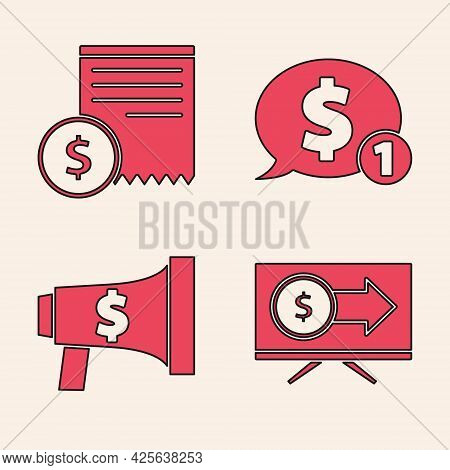 Set Monitor With Dollar, Paper Check And Financial Check, Speech Bubble With Dollar And Megaphone An