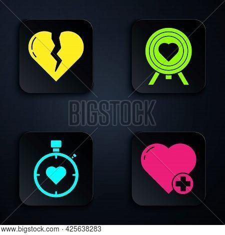 Set Heart, Broken Heart Or Divorce, Heart In The Center Stopwatch And Heart In The Center Of Darts T