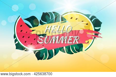 Abstract Summer Background With Sunbeams, Bokeh Effect And Text. Hello Summer.