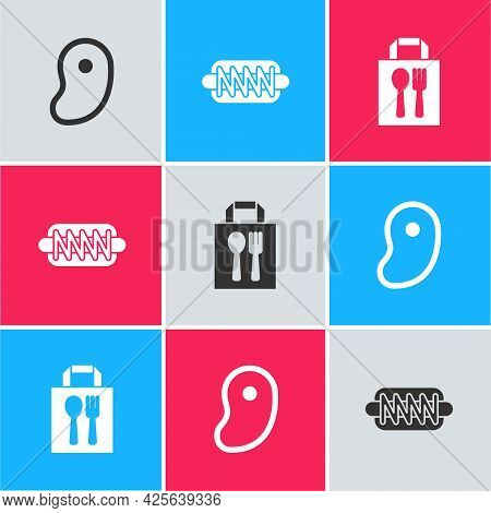 Set Steak Meat, Hotdog Sandwich And Online Ordering Delivery Icon. Vector