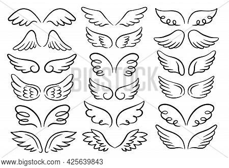 Vector Set Of Different Angel Wings. Hand-drawn, Doodle Elements Isolated On White Background.