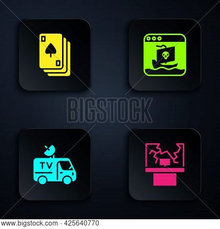 Set Broken Window, Playing Cards, Tv News And Internet Piracy. Black Square Button. Vector