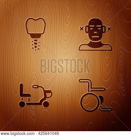 Set Wheelchair, Dental Implant, Electric Wheelchair And Deaf On Wooden Background. Vector