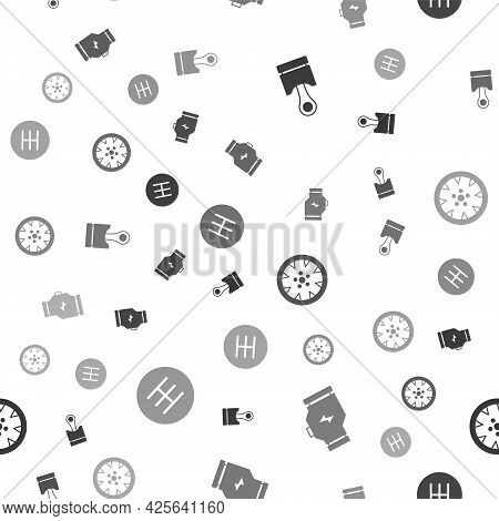 Set Engine Piston, Check Engine, Alloy Wheel And Gear Shifter On Seamless Pattern. Vector