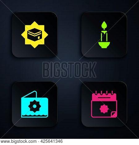 Set Ramadan Calendar, Kaaba Mosque, Octagonal Star And Burning Candle. Black Square Button. Vector