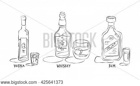 Vodka Rum And Whiskey. Bottle And Glass In Hand Drawn Style. Restaurant Illustration For Celebration