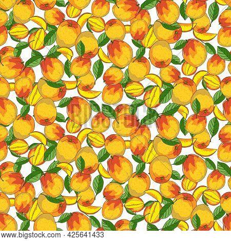 Cute Mango Seamless Pattern. Ripe Mango, Plum Lobules And Leaves On White Background. Perfect For Wa