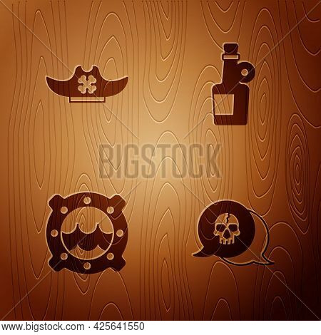 Set Skull, Pirate Hat, Ship Porthole With Seascape And Alcohol Drink Rum On Wooden Background. Vecto