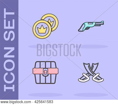 Set Crossed Pirate Swords, Pirate Coin, Antique Treasure Chest And Vintage Pistol Icon. Vector