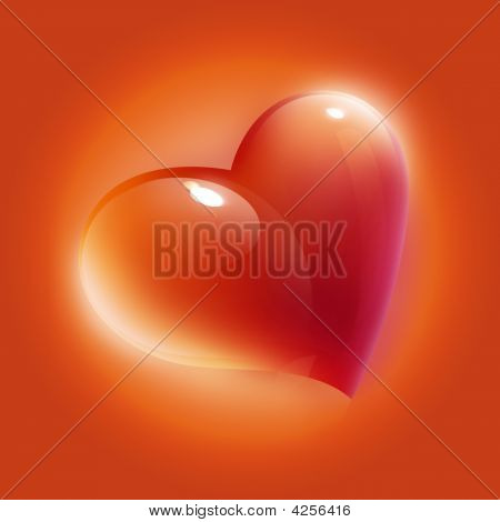 Red Heart Card For Valentine'S Day