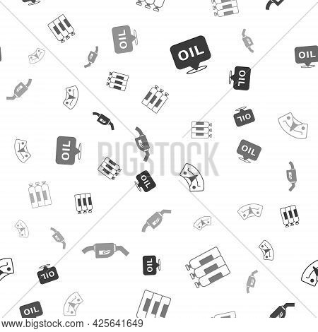 Set Word Oil, Industrial Gas Cylinder Tank, Motor Gauge And Gasoline Pump Nozzle On Seamless Pattern