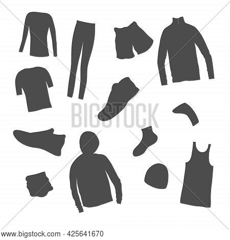 Set Of Mens Clothes For A Jogging Made As Icons