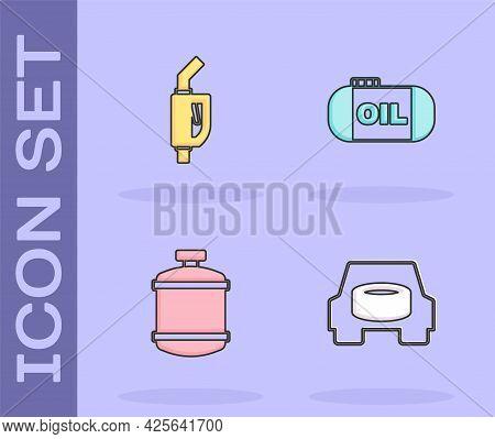 Set Spare Wheel In The Car, Gasoline Pump Nozzle, Propane Gas Tank And Oil Storage Icon. Vector