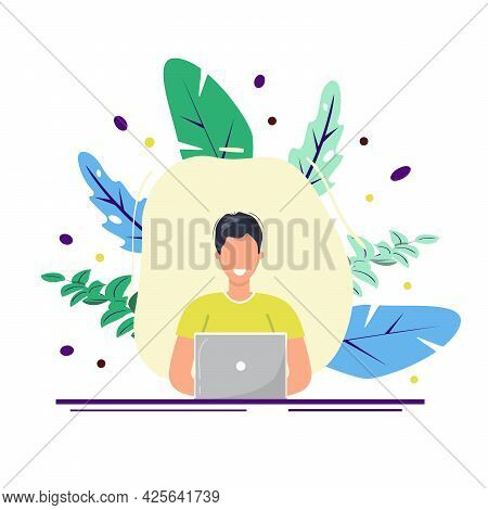 Man Working On Lap Top. Smiling Male Character Working On Lap Top. Freelance, Remote Working, Home O
