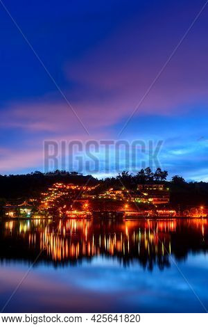 Beautiful Colorful Twilight Sky And Reflecting Water At Ban Rak Thai The Village Is Surrounded By Mo