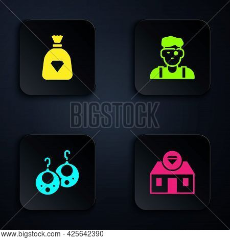 Set Jewelry Store, Bag With Gems, Earrings And Jeweler Man. Black Square Button. Vector