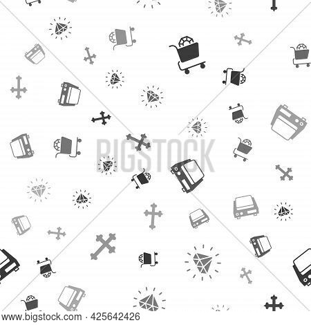 Set Jewelry Online Shopping, Diamond, Electronic Jewelry Scales And Christian Cross On Seamless Patt